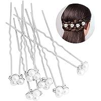 Fermagli per Capelli da Sposa, hicoosee Forcina da Sposa Fermacapelli Crystal Pearls Accessori da Sposa per Matrimonio 6…