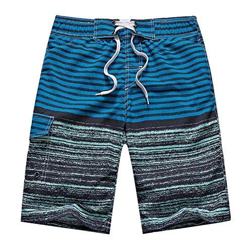 Huntvp Männer Boardshorts Streifen-Strand Schwimmen Boxer Trunks mit Taschen Grün