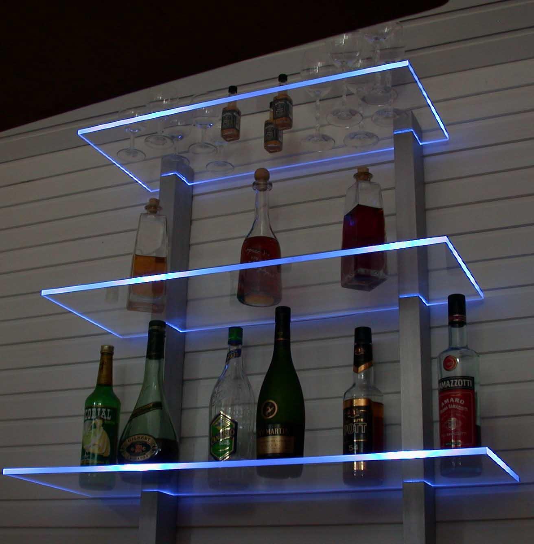 Design Bar Regal LED Ideal Flaschen Und Glser Schwarz Eloxierte Aluminiumtrger Gelb Beleuchtet Amazonde Kche Haushalt