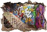 Pixxprint 3D_WD_2802_92x62 Cooles Graffiti Wanddurchbruch 3D Wandtattoo, Vinyl, Bunt, 92 x 62 x 0,02 cm