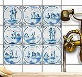 Fliesensticker Mosaikfliesen für Küche u. Bad Deko | Selbstklebende Fliesenbilder - Dekorative Fliesenfolie für Küchenrückwand und Fliesenspiegel | 10x10 cm - Motiv Holländische Fliese - 9 Stück