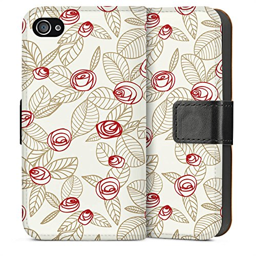 Apple iPhone 6 Housse Étui Silicone Coque Protection Roses Roses Roses Sideflip Sac
