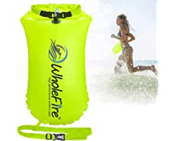 WholeFire 20L Swim Buoy Waterproof Inflatable Dry Bag Swim Safety Float for Water Sports, Open Water Swimmers, Triathletes, K
