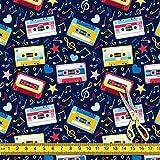 AZ Musik Kassetten Satin Stoff Kleid Material & Upholstery