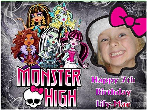 Monster High avec votre photo A4 Glaçage comestible décoratif pour gâteau d'anniversaire (Cake Topper High Monster)
