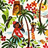 weißer tanzende Hula Mädchen Stoff Alexander Henry Hawaii