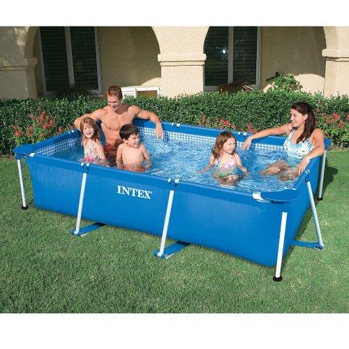 INTEX Familienpool 220x150x60 cm, blau, sehr stabil, schneller Auf-und Abbau: Metal Frame Pool Schwimmbecken Swimmingpool Swimming Quick Up (Pool Billig Spielzeug)