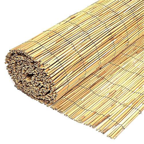 Wilsons Direct natürlicher geschälter Reed Zaunpfosten Holz Garten Zaunblende Sichtschutz Panel Rolle - Premiere Garten Blatt