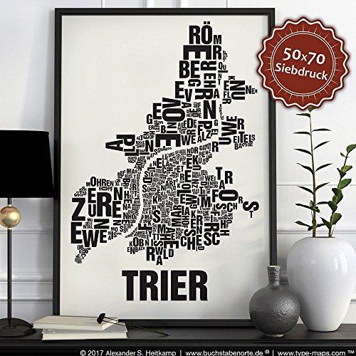 Trier Buchstabenort Schwarz auf Naturweiß