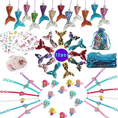 72pcs Meerjungfrau Party Favoriten Lieferung,Meerjungfrau Armband Ring Haarklammer Sticker Geschenktasche Meerjungfrau Zubehör Kit für Mädchen Meerjungfrau Party Geschenk für Kinder (Lustige Mädchen Halloween-kostüme Kleine)