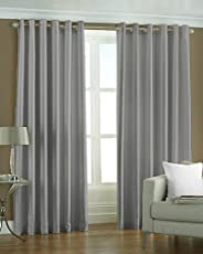 The Decor Hub Set of 2pc Premium Solid Fancy Elegant Ringtop Plain Polyester Eyelet 5ft Window Curtains - Grey