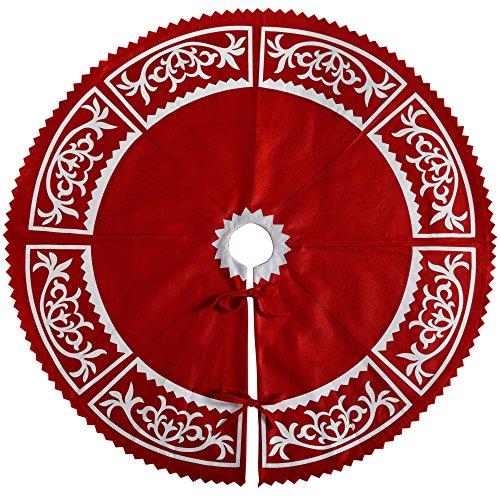 WeRChristmas–Decoración para base de árbol de Navidad, tela, rojo, 120cm, grande