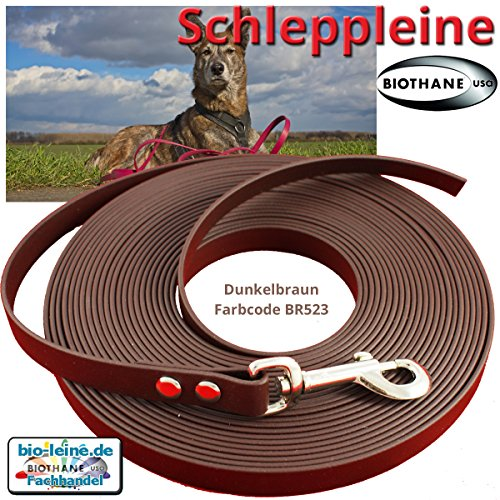 Schleppleine 9 mm aus Beta BioThane® 5 Meter lang in dunkelbraun ohne Handschlaufe und Karabiner Zink/Druckguss