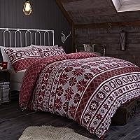Catherine Lansfield CL Oslo Red - Juego de funda nórdica para cama de 135 cm