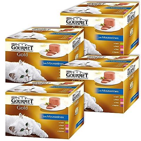 Gourmet Gold Les Mousselines Repas pour chat adulte Lapin, Boeuf, Veau, Agneau 24 x 85 g - Lot de 4 (96 boites)