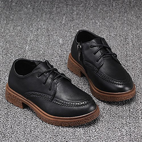 Oasap Boy's Round Toe Lace-up Low Top Oxford Shoes Black