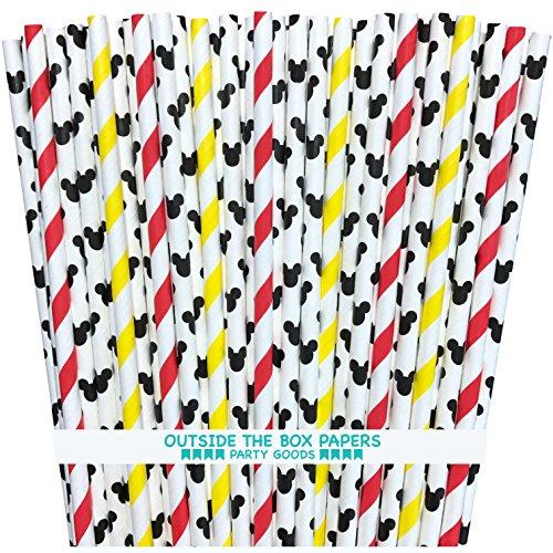 Außerhalb der Box Papier Micky Maus Papier Trinkhalme Maus Ohren und Streifen 19,7cm 100Stück schwarz, weiß, rot, gelb