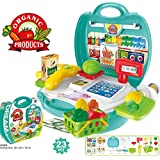GRAPPLE DEALS 23 Pcs Pretend Play Super Market Organic Product Portable Suitcase Playset Toy For Kids.❤❤❤