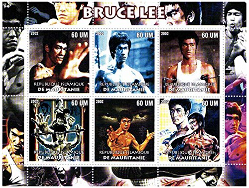 Bruce Lee in 6 lotta pose - Mint e timbro minifoglio (Francobolli Fu)