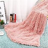 linyingdian Super Soft Lange Shaggy Überwurf Decke Kunstpelz Warm Elegant Gemütlich Mit Flauschige Decke Tagesdecke Geeignet für Bett Stuhl oder Sofa (Größe 130 X 160 cm) Samt Doppeldecke Plüschdecke Fluffy Decken Werfen (Bohnen rosa, 130 X 160 cm)