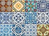 Set de 24 piezas de pegatinas de azulejos tradicionales de Talavera para el baño y la cocina. Pegatinas fáciles de aplicar para decoración de la casa
