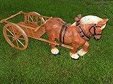 Pferd groß mit Wagen Dekofigur Gartendekoration