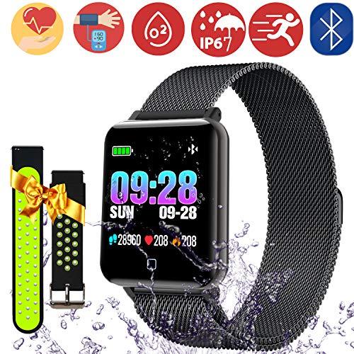 Fitness Tracker Orologio Cardio Impermeabile IP67 Smartwatch Cardiofrequenzimetro da Polso Contapassi Braccialetto Pedometro Smart Watch per Uomo Donna Notifiche Messaggio per iOS Android (M19-Black)