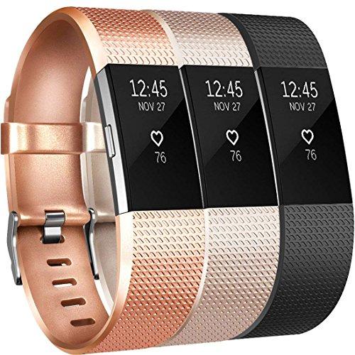 Yandu für Fitbit Charge 2 Armband, Weiches TPU Ersetzbar Armbänder Verstellbares für Fitbit Charge2 (04, 3PC(Rose Gold+Champagner+Schwarz), Small)