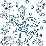 GRAZDesign 770060_57_053 Wandtattoo Badezimmer Meer Seepferdchen Muscheln | maritimes SET Bad-Tattoo für Fliesen - Wände - Tür (57x57cm//053 hellblau)