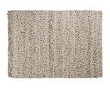 Sukhi Kayum: Elfenbein grau Wollteppich, handgemachte geflochtene Teppiche, indische Dicke Wolle (120cm x 170cm / 3' 11.2'' x 5' 6.9'')