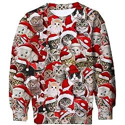 ALISISTER Ugly Christmas Jumper Sweater Niños Niñas 3D Impreso Manga Larga Sudaderas con Capucha para Fiesta Deportiva Rojo S