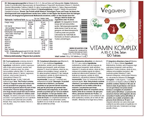 61tyz6haR9L - Multivitaminico e Multiminerale Vegavero – Con Vitamina A, C, D3, E, Zinco e Selenio | Stanchezza stagionale – Sistema Immunitario – Affaticamento – Energia e Vitalità Giornaliera | Senza Magnesio Stearato | 120 Compresse | Vegan privo di Glutine e Lattosio