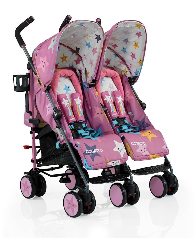 Cosatto Supa Dupa Double/Twin Stroller, Suitable from Birth, Happy Stars Cosatto Supa dupa is a compact from-birth double stroller. it's lightweight but sturdy. the stowaway autostand makes it great for home or car storage. With upf50+ extendable hoods, raincover and fleece-lined footmuffs, supa dupa's in charge, rain or shine.  the handy compact fold means you can hop on and off transport. Each seat has its own recline - so whatever their age, whatever their stage, whatever their mood that day, they're happy. 2