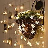 LED String Lights Qorol Christmas Snowflake Lights Battery Operated Waterproof 20ft, 40 LED Lights for Bedroom, Corridor, Patio, Garden, Yard, Photo Frame