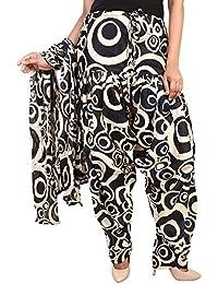 BILOCHI'S Women Printed Solid Cotton Full Patiala Salwar With Dupatta Set(Free Size,Black & White )