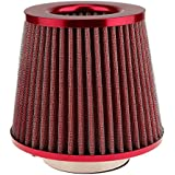Generic Automotive Air Filter Round Tapered Universal Cold Air Intake - red