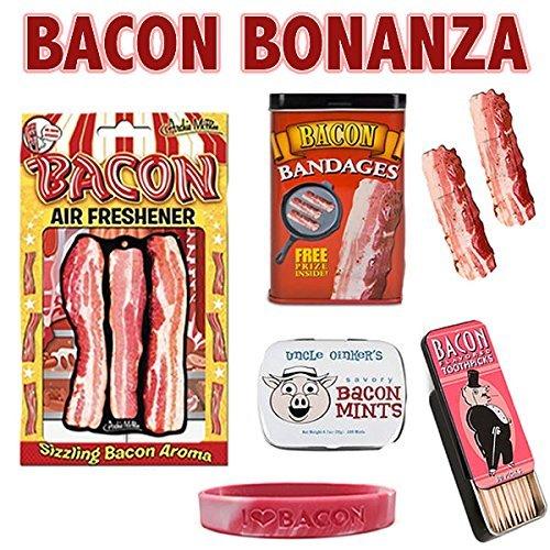 bacon-bonanza-sampler-gift-pack-5pc-set-bacon-bandages-air-freshener-mints-toothpicks-wristband-by-b