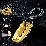 lingan Feuerzeuge USB Feuerzeug Tragbare wiederaufladbare flammenlose winddicht Elektronische Zigarette Feuerzeug mit Schlüsselanhänger Taschenlampe, gelb