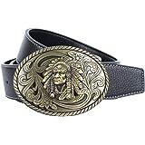 Baoblaze Cinturón de Cuero con Hebilla Ovalado de Indio Estilo Vaquero Occidental para Hombres
