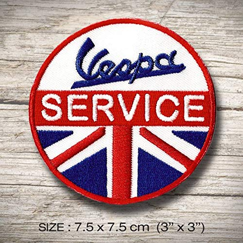 Vespa Service Sports Scooter parche patch bordado con logotipo para planchar de hierro en apliques de recuerdo de accesorios