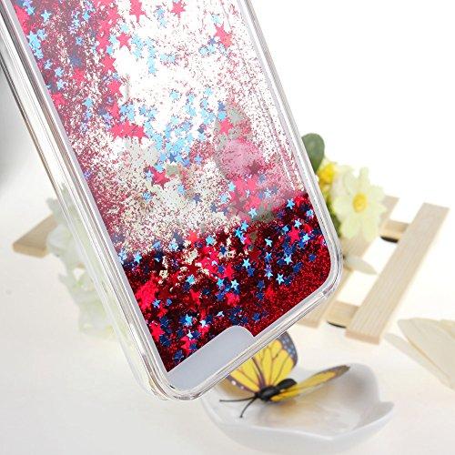 ISAKEN Custodia iphone 6, iphone 6S Flowing Cover, Creative Design Fluente della Glitter Copertura di Caso di Bling Chiaro Lucido Sparkle Stelle Plastica della Case Cover con Eye Pattern per iPhone 6  Stern Rot