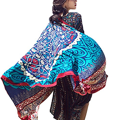 Xsayjia scialle donna elegante stampa geometrica stile nazionale lino sciarpe protezione solare telo mare bikini cover up 190 * 95 cm
