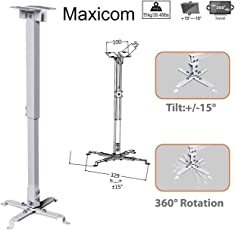 Maxicom Heavy Duty - 2 Feet Projector Ceiling Mount Bracket - White (Weight Capacity - 15kgs)