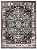 Tapiso Colorado Teppich Wohnzimmer Klassisch Kurzflor Orientalisch Blau Creme Schwarz Medaillon Ornament Muster Orientteppich ÖKOTEX 160 x 220 cm