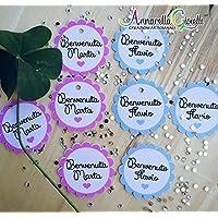 Cartellini bimbo e bimba personalizzati, ragazza, bomboniere, multicolor, etichette,matrimonio, battesimo, comunione, cresima, tag fiore bimbi