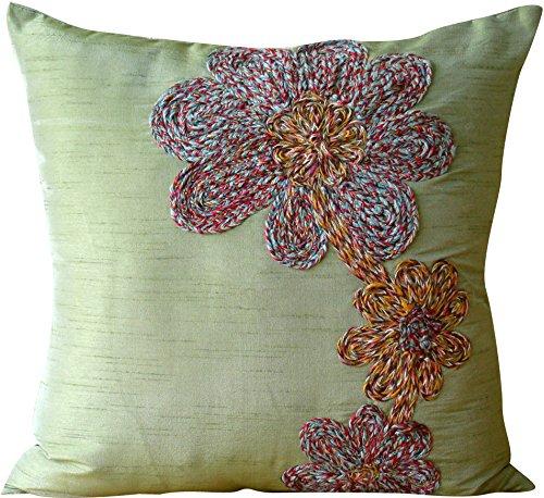 décoratifs Housses de coussin 45,7 x 45,7 cm Vert, jeté de soie Housses de coussin, faite à la main Housses de coussin – Fleurs colorées