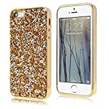 SMARTLEGEND Bling Slim Soft Silicone Phone Case for Apple iPhone SE iPhone 5/5S Golden Glitter Diomand Shockproof Bumper Lightweight Back Cover Flexible Material TPU Shell Fashion Cover Sleeve Mobile Phone Protective Case