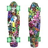 mymotto 22 Inch Professionnelle Planche à Roulettes en Bois - Rétro Mini Cruiser Skateboard Complet (Graffiti violet)