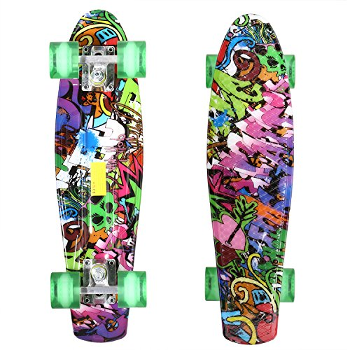 WeSkate Plastic Penny Board 22 Inch Mini Cruiser Skateboard with Bendable Deck and Smooth PU Wheels for Kids Boys Youths Beginners