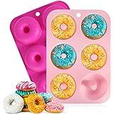 Moldes de silicona para donuts, moldes antiadherentes, para 6 donuts, bagels, magdalenas, 2 unidades, 6 cavidades (rosa + roj